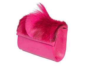 Mini Springbok Handbag in Fuchsia with a Fan by Sherene Melinda Side Angle