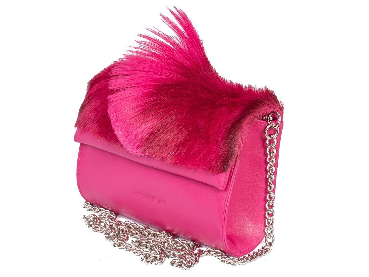 Mini Springbok Handbag in Fuchsia with a Fan by Sherene Melinda Side Angle Strap