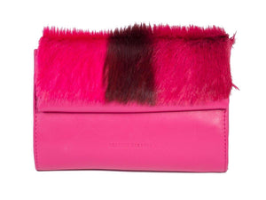 Mini Springbok Handbag in Fuchsia with a Stripe by Sherene Melinda Front