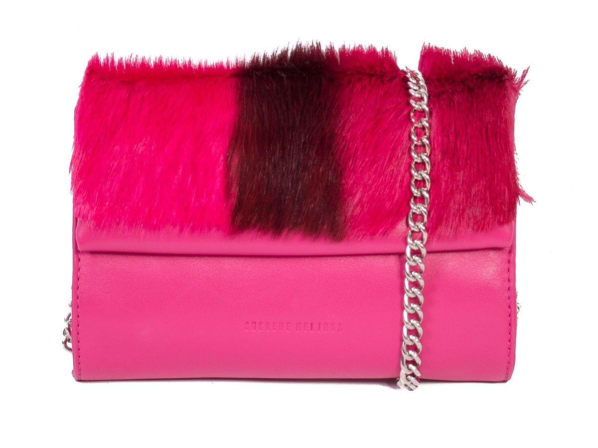 Mini Springbok Handbag in Fuchsia with a Stripe by Sherene Melinda Side Angle Strap