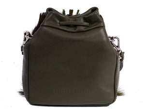 sherene melinda springbok hair-on-hide green leather pouch bag back