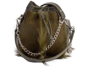 sherene melinda springbok hair-on-hide green leather pouch bag fan front strap