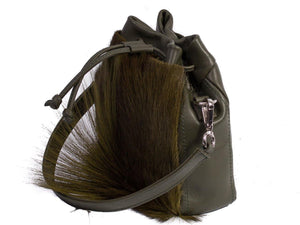 sherene melinda springbok hair-on-hide green leather pouch bag Fan side angle