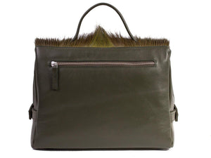 sherene melinda springbok hair-on-hide green leather smith tote bag Fan back