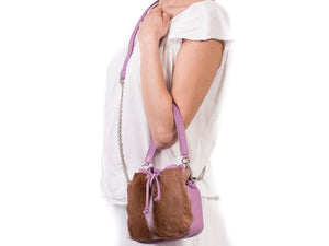 sherene melinda springbok hair-on-hide lavender leather pouch bag fan context