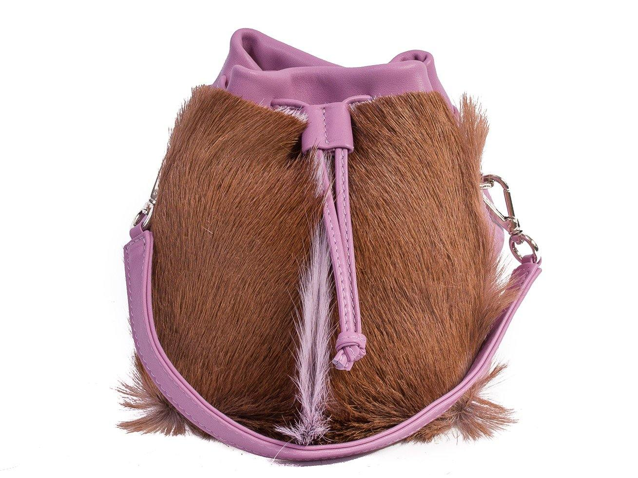 sherene melinda springbok hair-on-hide lavender leather pouch bag fan front strap