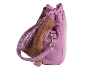 sherene melinda springbok hair-on-hide lavender leather pouch bag Fan side