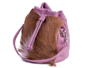 sherene melinda springbok hair-on-hide lavender leather pouch bag Fan side angle