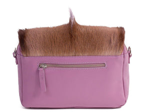 sherene melinda springbok hair-on-hide lavender leather shoulder bag Fan back