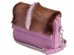 sherene melinda springbok hair-on-hide lavender leather shoulder bag Fan side angle strap