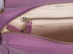 sherene melinda springbok hair-on-hide lavender leather shoulder bag Stripe inside