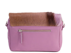 sherene melinda springbok hair-on-hide lavender leather shoulder bag Stripe back