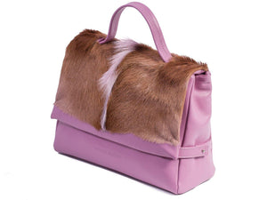 sherene melinda springbok hair-on-hide lavender leather smith tote bag Fan side angle