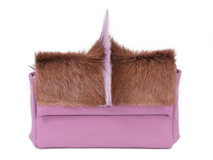 sherene melinda springbok hair-on-hide lavender leather Sophy SS18 Clutch Bag Fan front