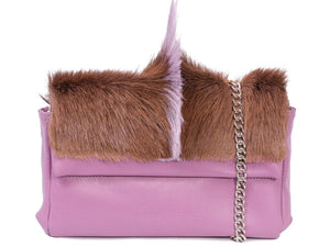 sherene melinda springbok hair-on-hide lavender leather Sophy SS18 Clutch Bag fan front strap