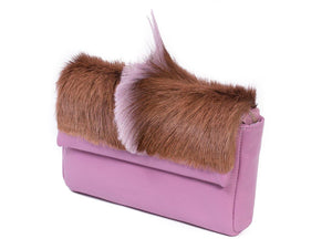 sherene melinda springbok hair-on-hide lavender leather Sophy SS18 Clutch Bag Fan side angle