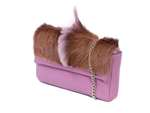 sherene melinda springbok hair-on-hide lavender leather Sophy SS18 Clutch Bag Fan side angle strap