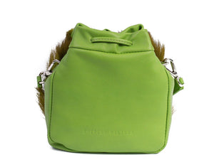 sherene melinda springbok hair-on-hide lime green leather pouch bag back