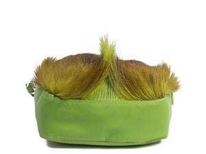 sherene melinda springbok hair-on-hide lime green leather pouch bag Fan bottom