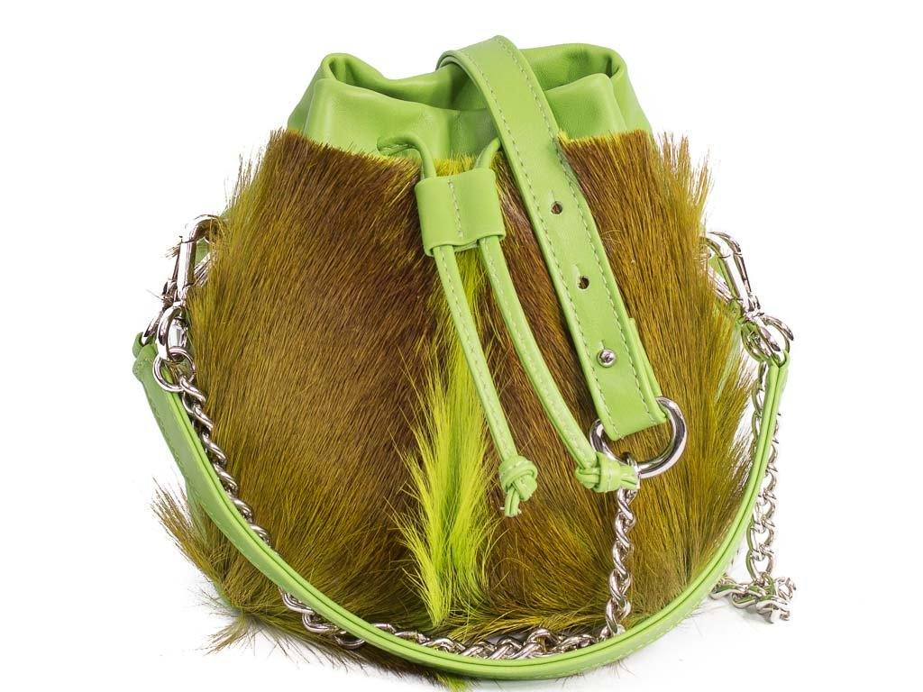sherene melinda springbok hair-on-hide lime green leather pouch bag Fan front strap