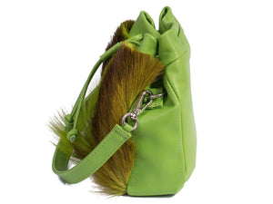sherene melinda springbok hair-on-hide lime green leather pouch bag Fan side