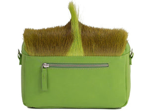 sherene melinda springbok hair-on-hide lime green leather shoulder bag Fan back
