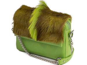 sherene melinda springbok hair-on-hide lime green leather shoulder bag Fan side angle strap