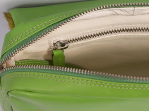 sherene melinda springbok hair-on-hide lime green leather shoulder bag inside