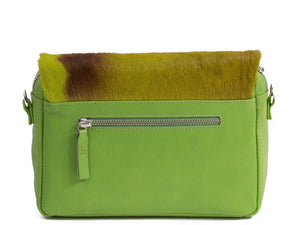 sherene melinda springbok hair-on-hide lime green leather shoulder bag Stripe back