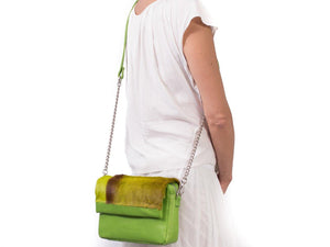 sherene melinda springbok hair-on-hide lime green leather shoulder bag Stripe context