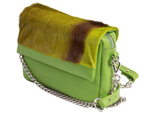 sherene melinda springbok hair-on-hide lime green leather shoulder bag Stripe side angle strap