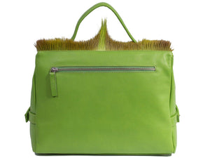 sherene melinda springbok hair-on-hide lime green leather smith tote bag Fan back