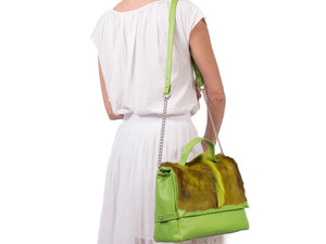 sherene melinda springbok hair-on-hide lime green leather smith tote bag fan context