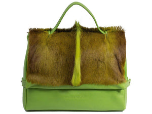 sherene melinda springbok hair-on-hide lime green leather smith tote bag Fan front