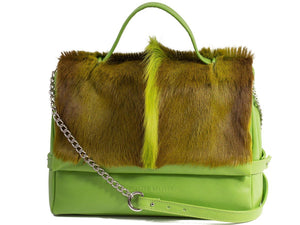 sherene melinda springbok hair-on-hide lime green leather smith tote bag fan front strap