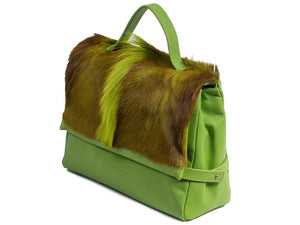 sherene melinda springbok hair-on-hide lime green leather smith tote bag Fan side angle