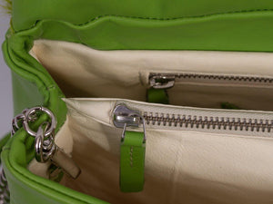 sherene melinda springbok hair-on-hide lime green leather smith tote bag inside