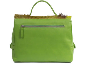 sherene melinda springbok hair-on-hide lime green leather smith tote bag Stripe back