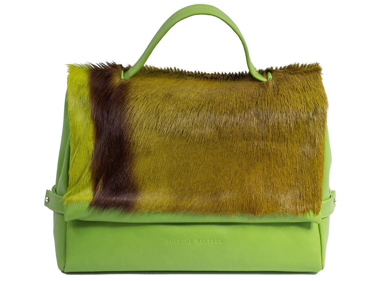 sherene melinda springbok hair-on-hide lime green leather smith tote bag Stripe front