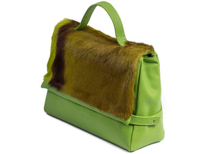 sherene melinda springbok hair-on-hide lime green leather smith tote bag Stripe side angle