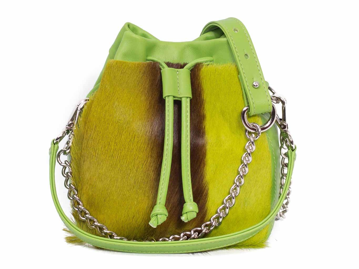 Lime Lou Lou Pouch with a stripe - SHERENE MELINDA