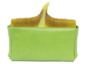 sherene melinda springbok hair-on-hide lime green leather Sophy SS18 Clutch Bag Fan back