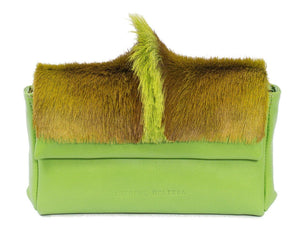 sherene melinda springbok hair-on-hide lime green leather Sophy SS18 Clutch Bag Fan front