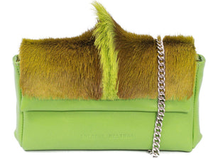 sherene melinda springbok hair-on-hide lime green leather Sophy SS18 Clutch Bag fan front strap