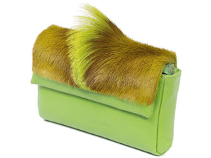 sherene melinda springbok hair-on-hide lime green leather Sophy SS18 Clutch Bag Fan side angle