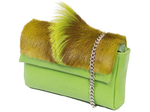 sherene melinda springbok hair-on-hide lime green leather Sophy SS18 Clutch Bag Fan side angle strap