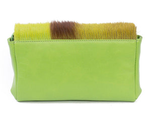 sherene melinda springbok hair-on-hide lime green leather Sophy SS18 Clutch Bag Stripe back
