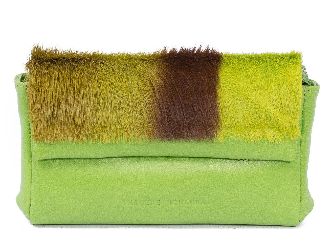 sherene melinda springbok hair-on-hide lime green leather Sophy SS18 Clutch Bag stripe front strap