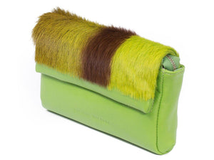 sherene melinda springbok hair-on-hide lime green leather Sophy SS18 Clutch Bag Stripe side angle