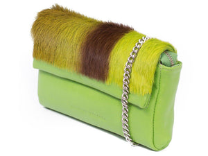 sherene melinda springbok hair-on-hide lime green leather Sophy SS18 Clutch Bag Stripe side angle strap